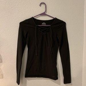 Hollister Black Lace Up Long Sleeve Top